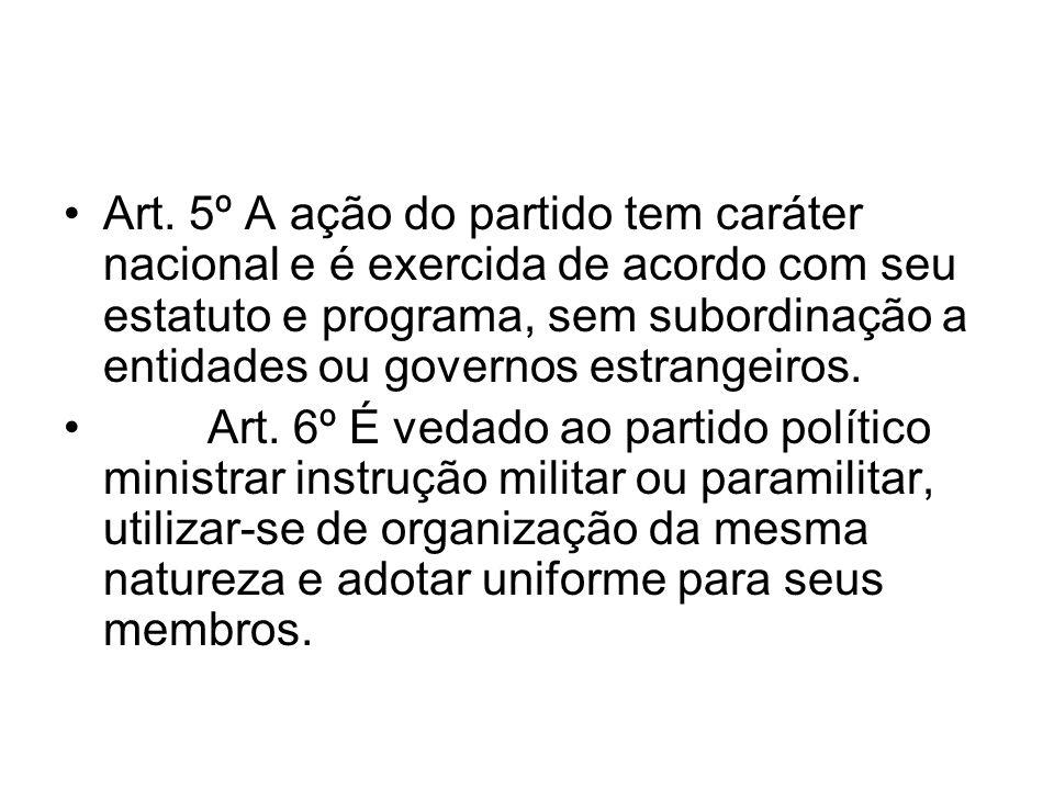 Art. 5º A ação do partido tem caráter nacional e é exercida de acordo com seu estatuto e programa, sem subordinação a entidades ou governos estrangeir