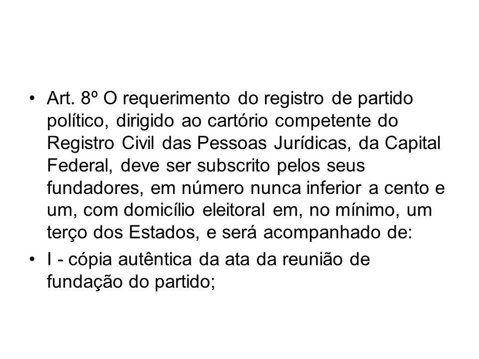 Art. 8º O requerimento do registro de partido político, dirigido ao cartório competente do Registro Civil das Pessoas Jurídicas, da Capital Federal, d