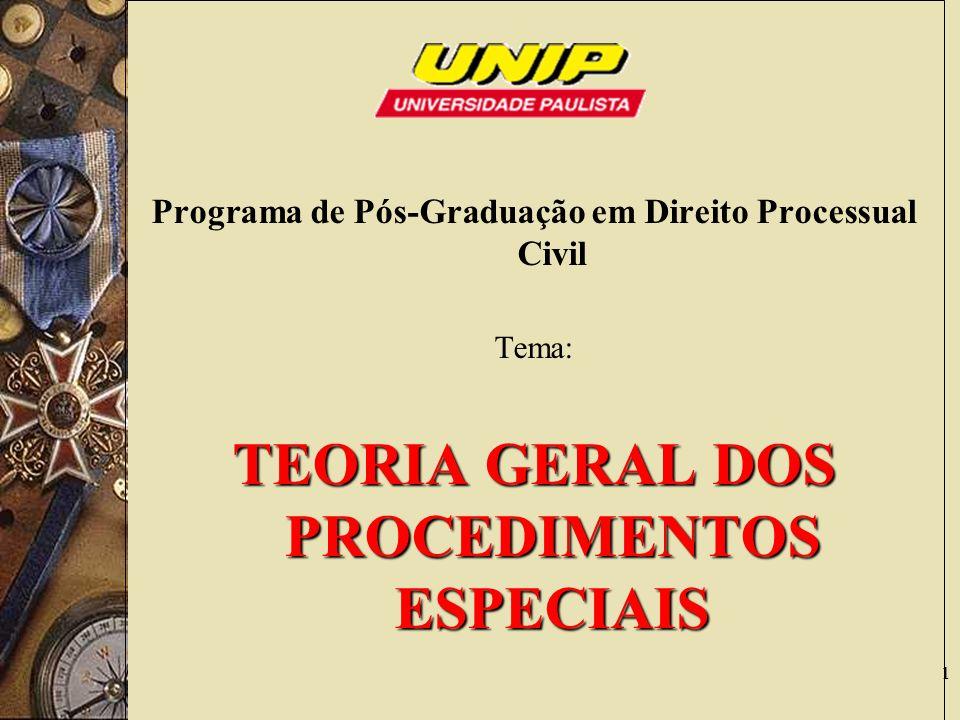 1 Programa de Pós-Graduação em Direito Processual Civil Tema: TEORIA GERAL DOS PROCEDIMENTOS ESPECIAIS