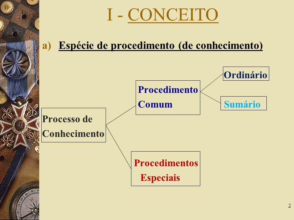 I - CONCEITO a)Espécie de procedimento (de conhecimento) Ordinário Procedimento Comum Sumário Processo de Conhecimento Procedimentos Especiais 2