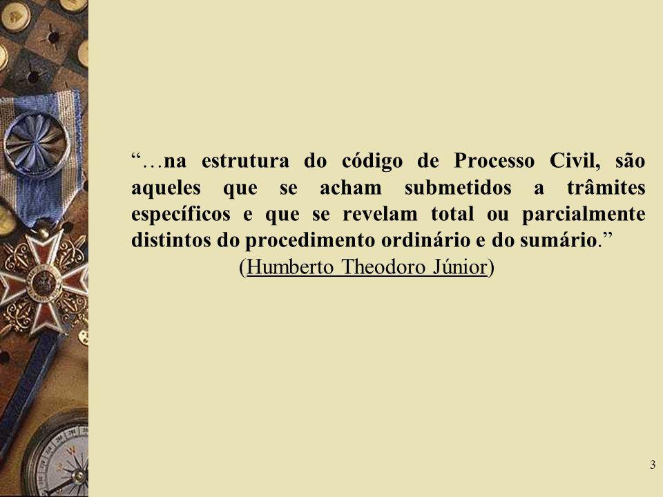 VI – ESPÉCIES DE PROCEDIMENTOS ESPECIAIS NO CPC 14 Procedimentos Especiais de jurisdição CONTENCIOSA Procedimentos Especiais de jurisdição VOLUNTÁRIA Arts.
