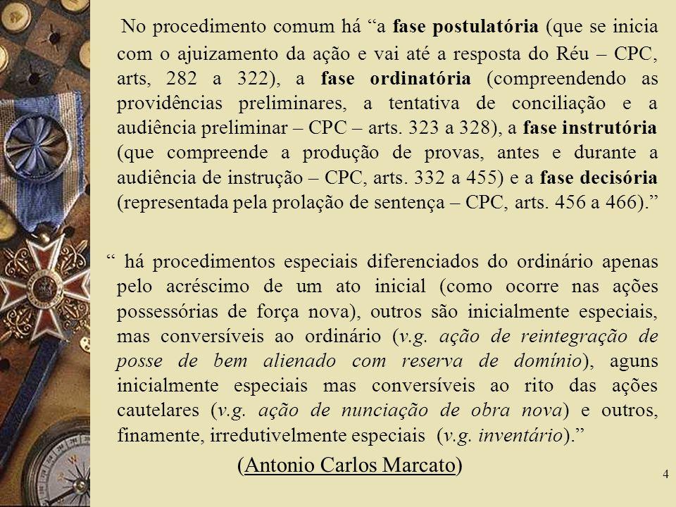 No procedimento comum há a fase postulatória (que se inicia com o ajuizamento da ação e vai até a resposta do Réu – CPC, arts, 282 a 322), a fase ordi