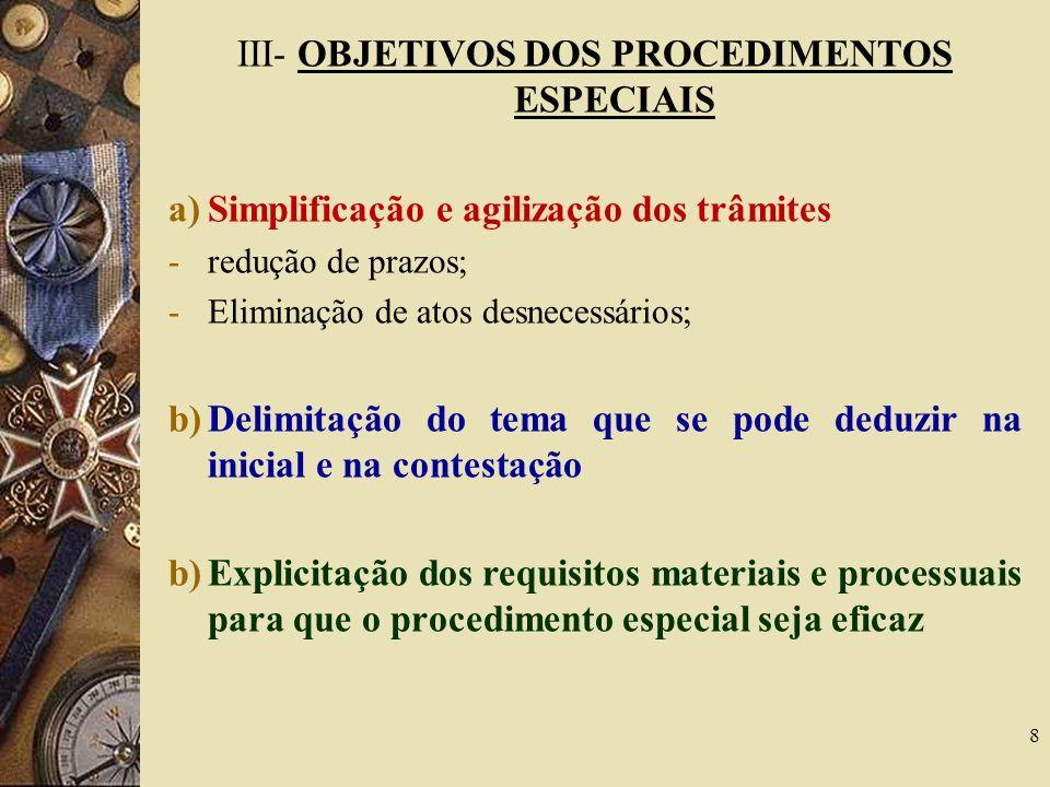 III- OBJETIVOS DOS PROCEDIMENTOS ESPECIAIS a)Simplificação e agilização dos trâmites -redução de prazos; -Eliminação de atos desnecessários; b)Delimit