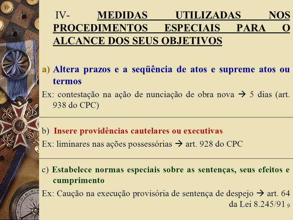 IV- MEDIDAS UTILIZADAS NOS PROCEDIMENTOS ESPECIAIS PARA O ALCANCE DOS SEUS OBJETIVOS a)Altera prazos e a seqüência de atos e supreme atos ou termos Ex