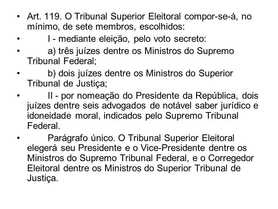 Art. 119. O Tribunal Superior Eleitoral compor-se-á, no mínimo, de sete membros, escolhidos: I - mediante eleição, pelo voto secreto: a) três juízes d
