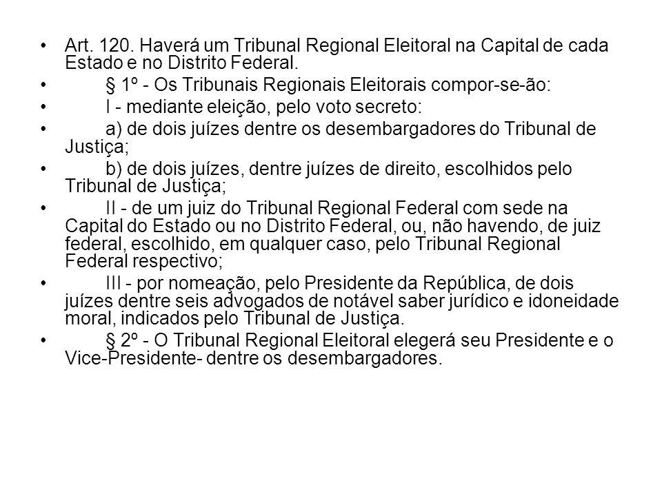 Art. 120. Haverá um Tribunal Regional Eleitoral na Capital de cada Estado e no Distrito Federal. § 1º - Os Tribunais Regionais Eleitorais compor-se-ão