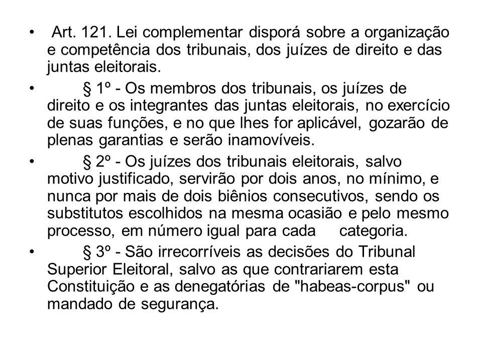 Art. 121. Lei complementar disporá sobre a organização e competência dos tribunais, dos juízes de direito e das juntas eleitorais. § 1º - Os membros d