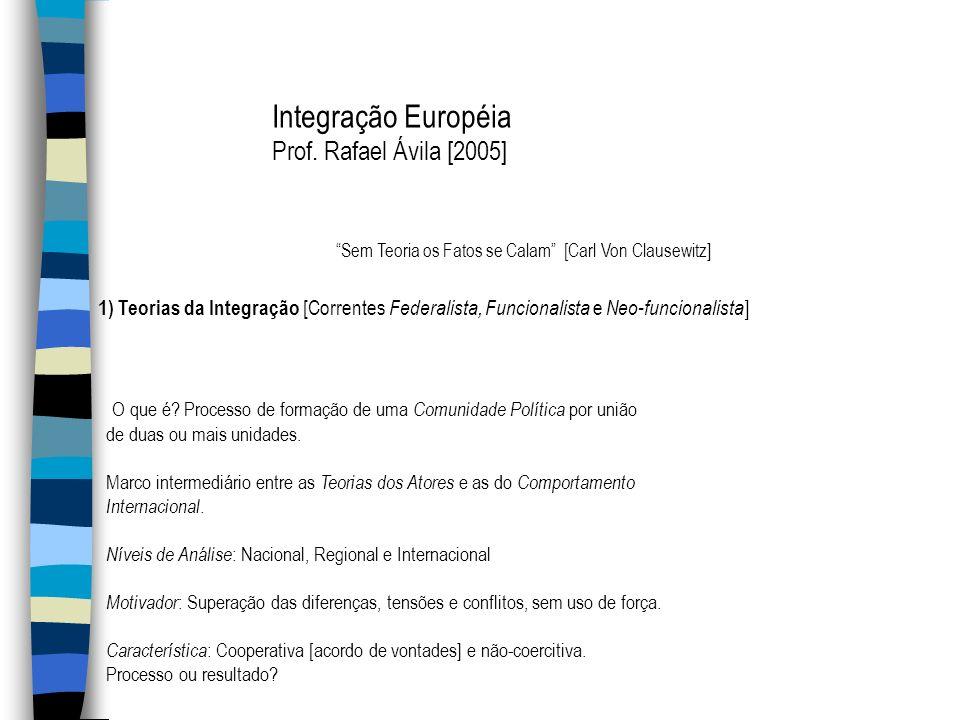 Integração Européia Prof. Rafael Ávila [2005] Sem Teoria os Fatos se Calam [Carl Von Clausewitz] 1) Teorias da Integração [Correntes Federalista, Func