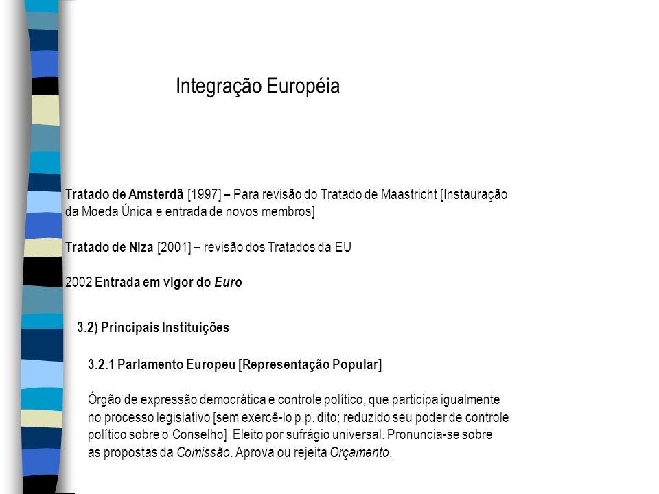 Integração Européia Tratado de Amsterdã [1997] – Para revisão do Tratado de Maastricht [Instauração da Moeda Única e entrada de novos membros] Tratado