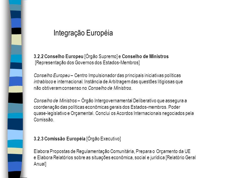Integração Européia 3.2.2 Conselho Europeu [Órgão Supremo] e Conselho de Ministros [Representação dos Governos dos Estados-Membros] Conselho Europeu –