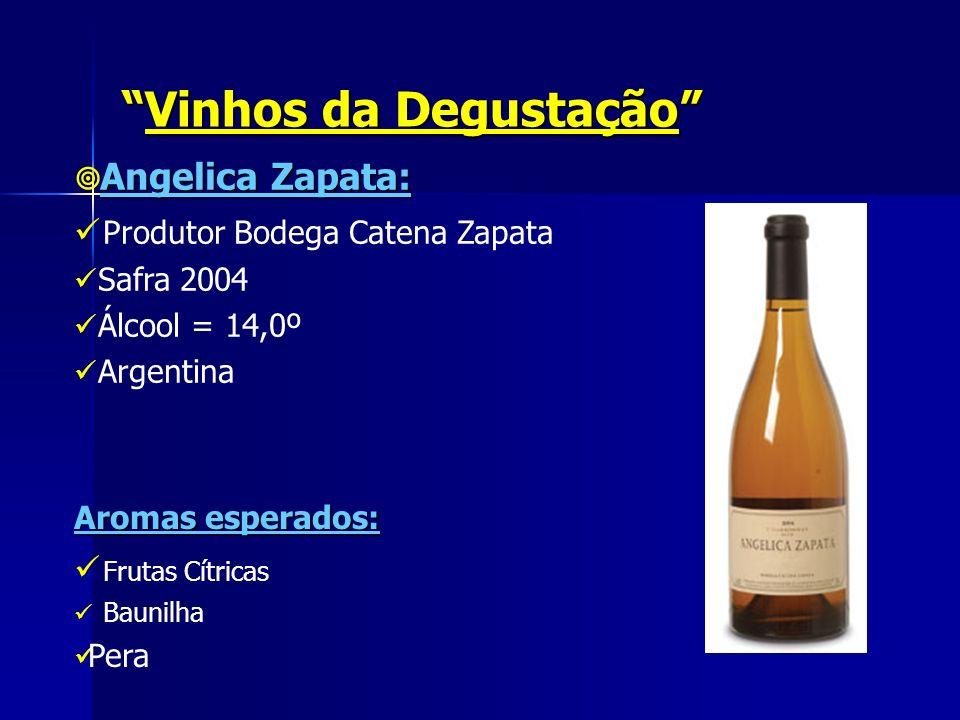 Vinhos da DegustaçãoVinhos da Degustação Angelica Zapata: Produtor Bodega Catena Zapata Safra 2004 Álcool = 14,0º Argentina Aromas esperados: Frutas C