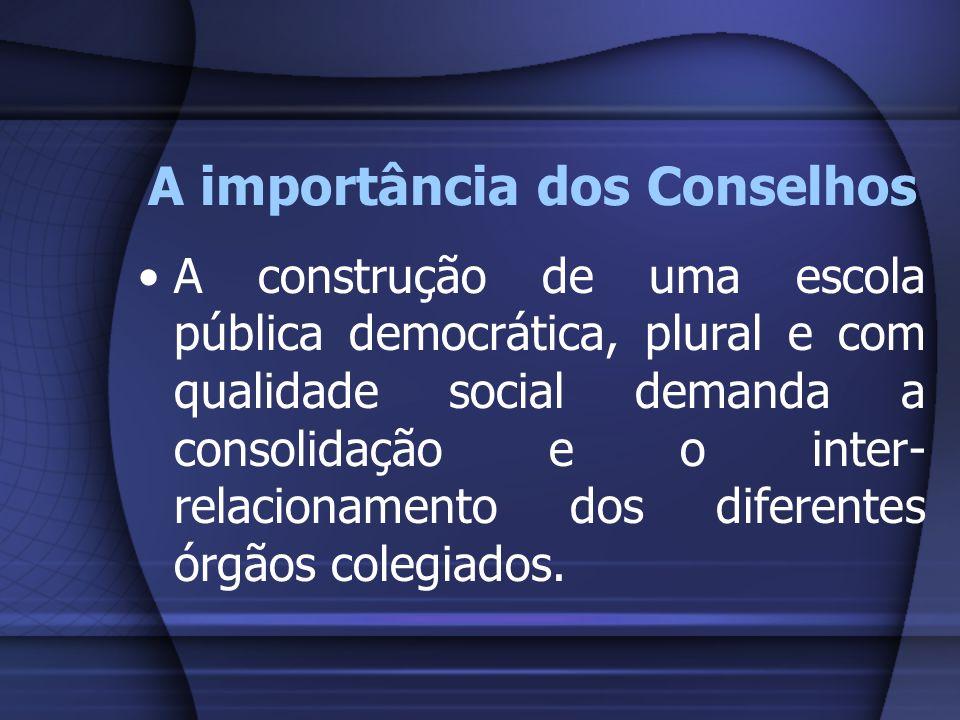 A importância dos Conselhos A construção de uma escola pública democrática, plural e com qualidade social demanda a consolidação e o inter- relacionam