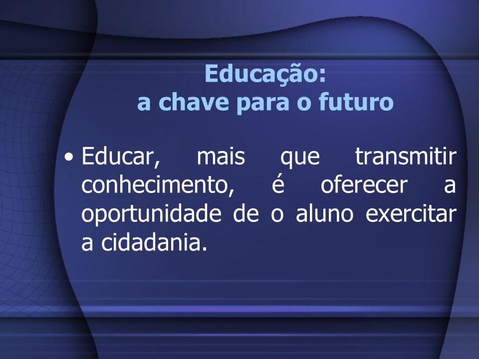 Educação: a chave para o futuro Educar, mais que transmitir conhecimento, é oferecer a oportunidade de o aluno exercitar a cidadania.