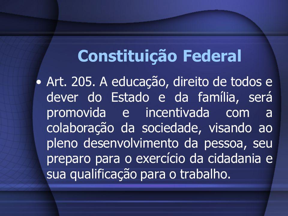 Constituição Federal Art. 205. A educação, direito de todos e dever do Estado e da família, será promovida e incentivada com a colaboração da sociedad
