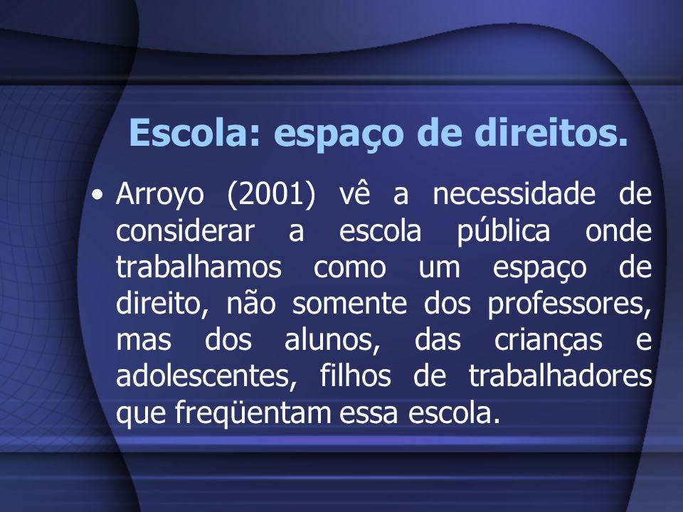 Escola: espaço de direitos. Arroyo (2001) vê a necessidade de considerar a escola pública onde trabalhamos como um espaço de direito, não somente dos