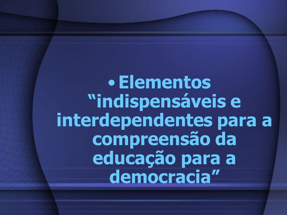 Elementos indispensáveis e interdependentes para a compreensão da educação para a democracia