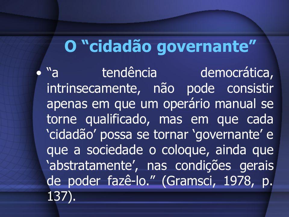 O cidadão governante a tendência democrática, intrinsecamente, não pode consistir apenas em que um operário manual se torne qualificado, mas em que ca