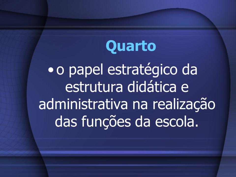 Quarto o papel estratégico da estrutura didática e administrativa na realização das funções da escola.