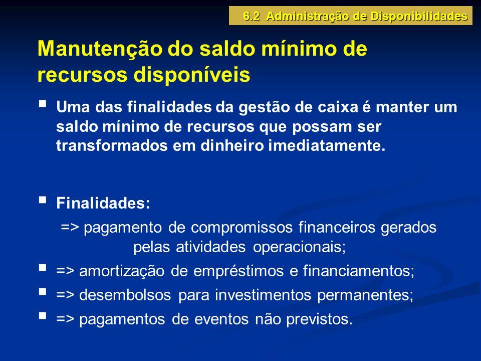 Manutenção do saldo mínimo de recursos disponíveis Uma das finalidades da gestão de caixa é manter um saldo mínimo de recursos que possam ser transformados em dinheiro imediatamente.