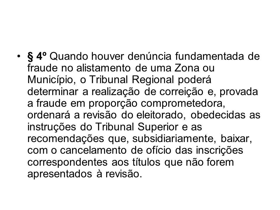 § 4º Quando houver denúncia fundamentada de fraude no alistamento de uma Zona ou Município, o Tribunal Regional poderá determinar a realização de corr