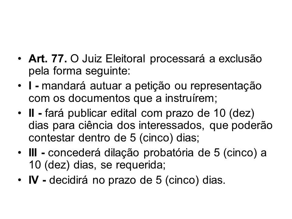 Art. 77. O Juiz Eleitoral processará a exclusão pela forma seguinte: I - mandará autuar a petição ou representação com os documentos que a instruírem;