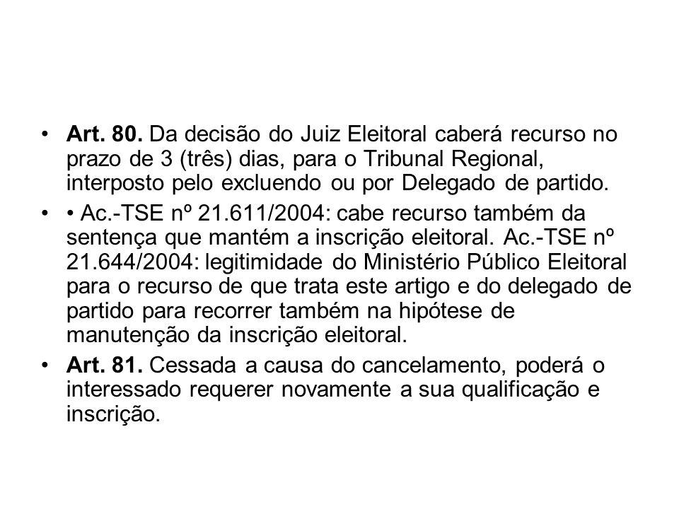 Art. 80. Da decisão do Juiz Eleitoral caberá recurso no prazo de 3 (três) dias, para o Tribunal Regional, interposto pelo excluendo ou por Delegado de