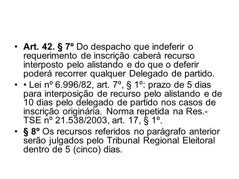 Art. 42. § 7º Do despacho que indeferir o requerimento de inscrição caberá recurso interposto pelo alistando e do que o deferir poderá recorrer qualqu