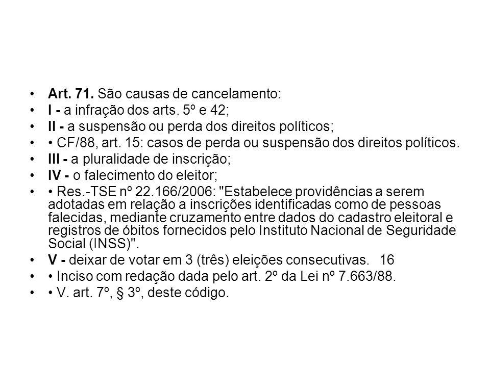 Art. 71. São causas de cancelamento: I - a infração dos arts. 5º e 42; II - a suspensão ou perda dos direitos políticos; CF/88, art. 15: casos de perd