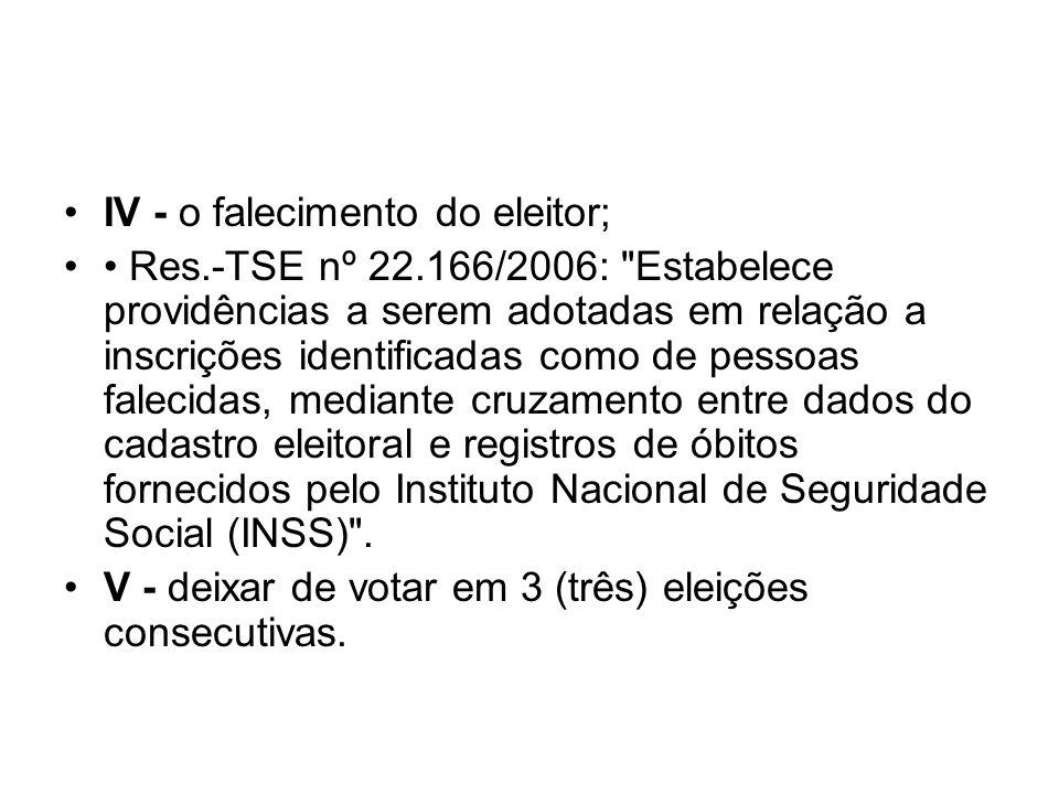 IV - o falecimento do eleitor; Res.-TSE nº 22.166/2006: