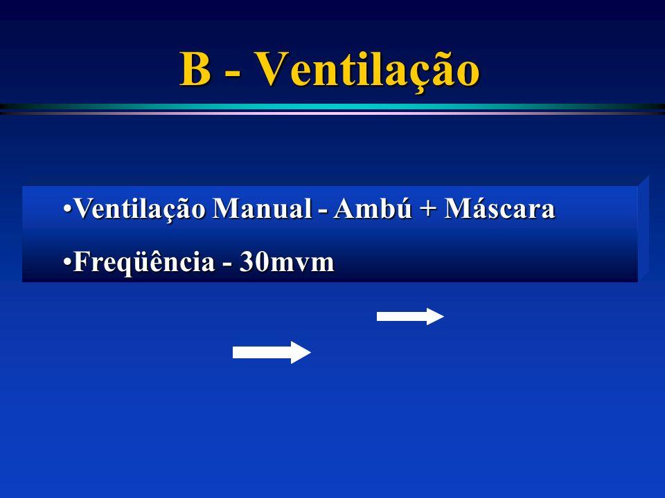B - Ventilação Ventilação Manual - Ambú + MáscaraVentilação Manual - Ambú + Máscara Freqüência - 30mvmFreqüência - 30mvm