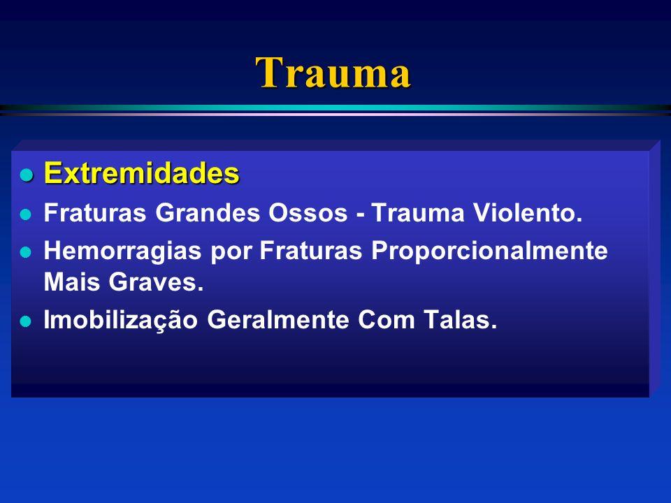 Trauma l Extremidades l Fraturas Grandes Ossos - Trauma Violento. l Hemorragias por Fraturas Proporcionalmente Mais Graves. l Imobilização Geralmente