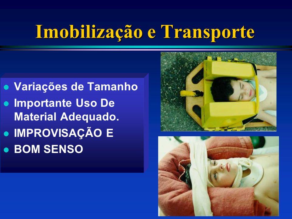 Imobilização e Transporte l Variações de Tamanho l Importante Uso De Material Adequado. l IMPROVISAÇÃO E l BOM SENSO