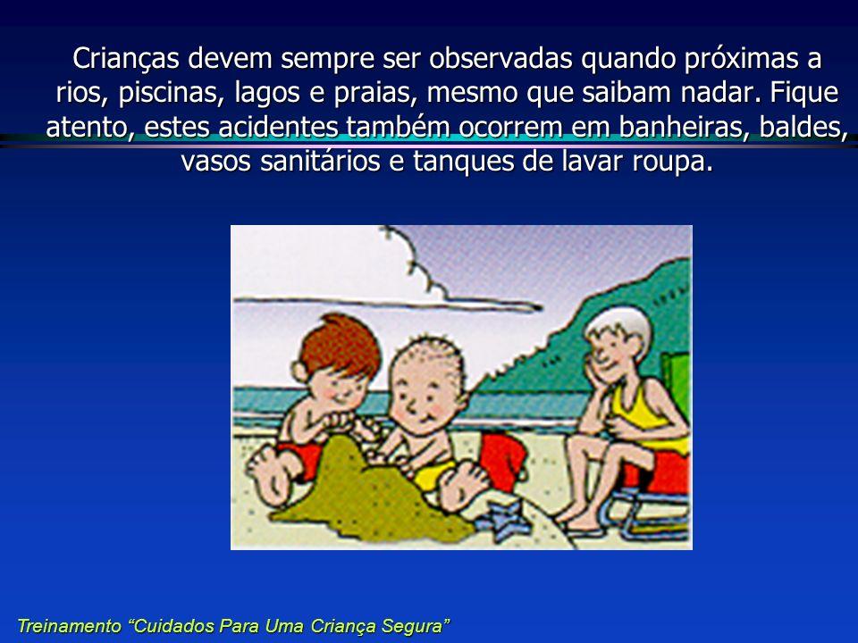 Crianças devem sempre ser observadas quando próximas a rios, piscinas, lagos e praias, mesmo que saibam nadar. Fique atento, estes acidentes também oc
