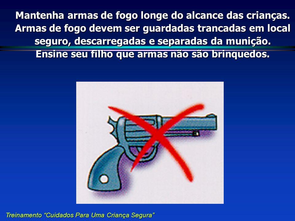Mantenha armas de fogo longe do alcance das crianças. Armas de fogo devem ser guardadas trancadas em local seguro, descarregadas e separadas da muniçã