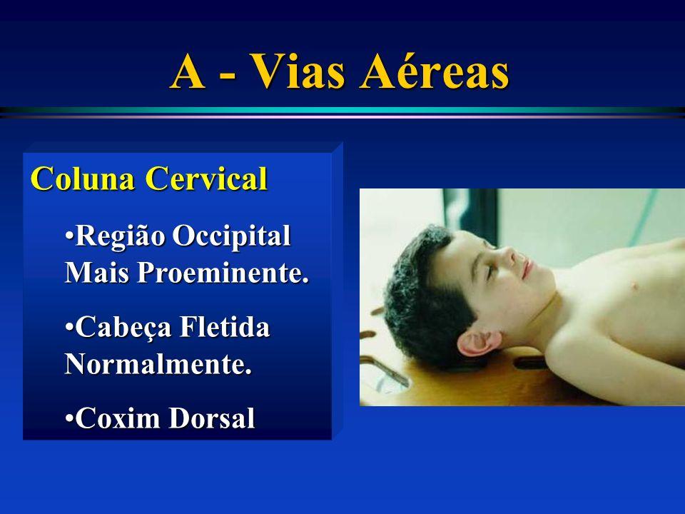 A - Vias Aéreas Coluna Cervical Região Occipital Mais Proeminente.Região Occipital Mais Proeminente. Cabeça Fletida Normalmente.Cabeça Fletida Normalm