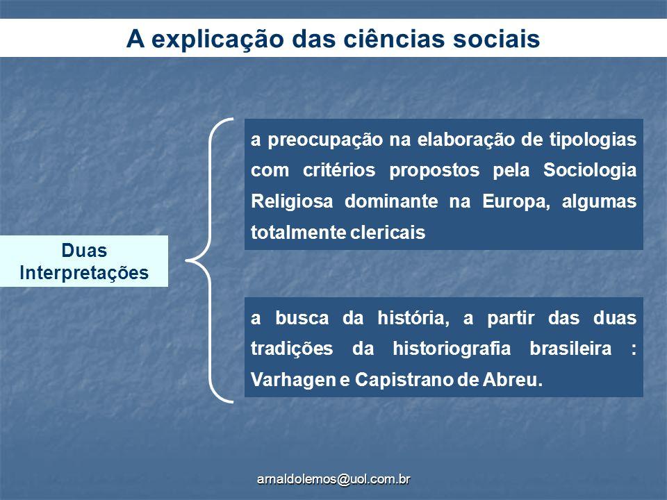 arnaldolemos@uol.com.br Duas Interpretações a preocupação na elaboração de tipologias com critérios propostos pela Sociologia Religiosa dominante na E
