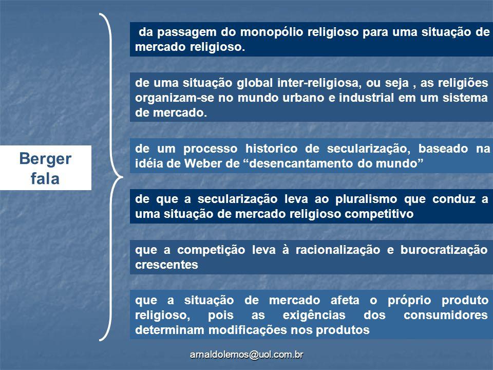arnaldolemos@uol.com.br Berger fala da passagem do monopólio religioso para uma situação de mercado religioso. de uma situação global inter-religiosa,