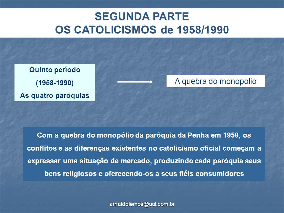 arnaldolemos@uol.com.br Com a quebra do monopólio da paróquia da Penha em 1958, os conflitos e as diferenças existentes no catolicismo oficial começam