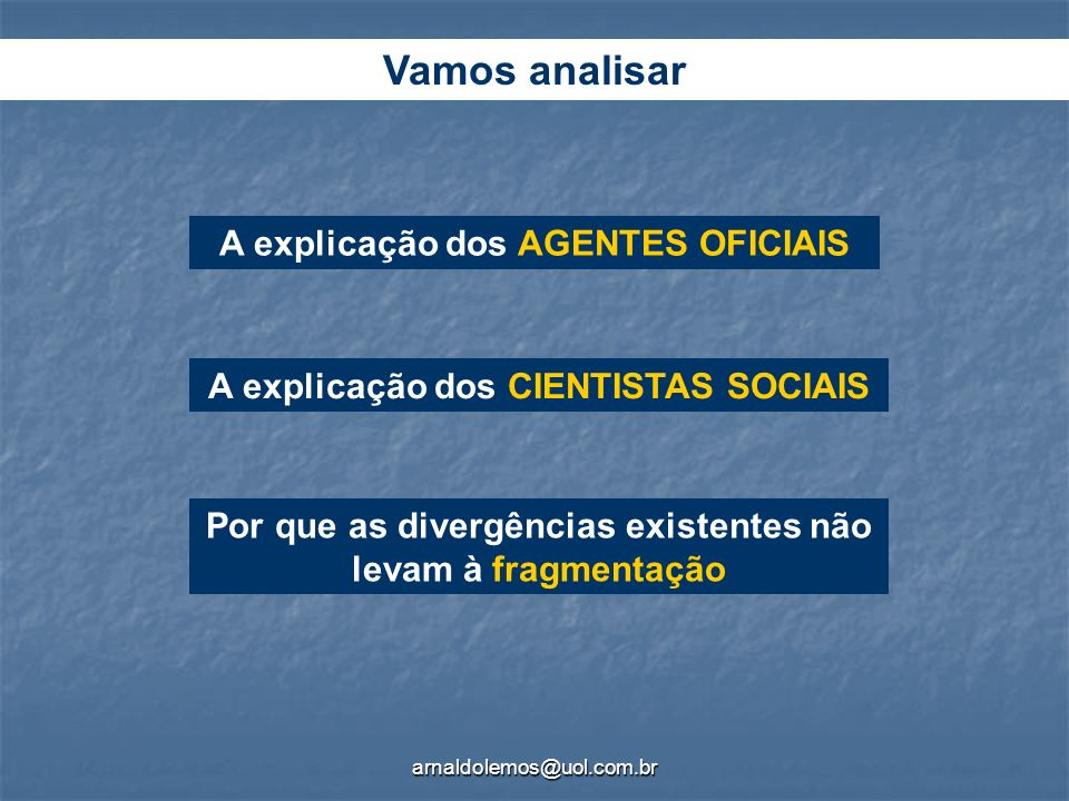 arnaldolemos@uol.com.br Vamos analisar A explicação dos AGENTES OFICIAIS A explicação dos CIENTISTAS SOCIAIS Por que as divergências existentes não le