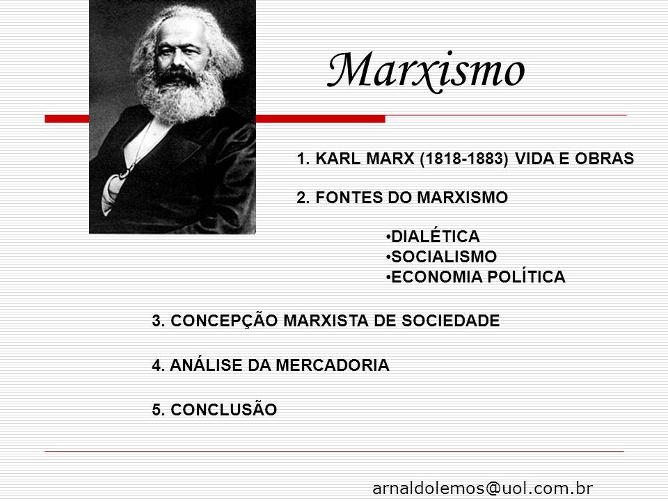 arnaldolemos@uol.com.br Marxismo 1. KARL MARX (1818-1883) VIDA E OBRAS 2. FONTES DO MARXISMO DIALÉTICA SOCIALISMO ECONOMIA POLÍTICA 3. CONCEPÇÃO MARXI