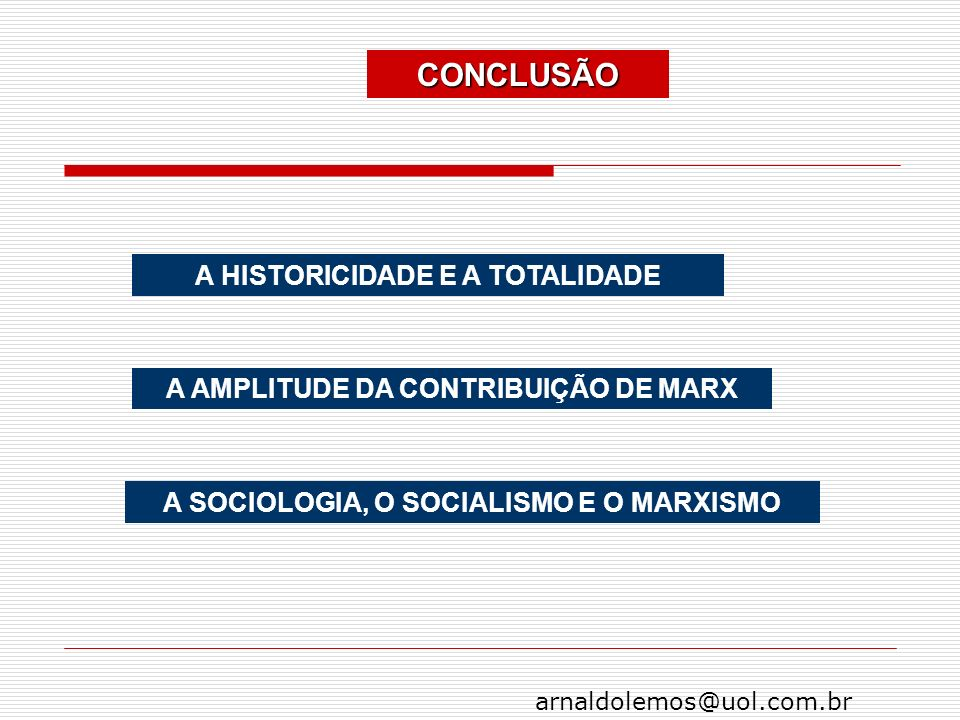 arnaldolemos@uol.com.br CONCLUSÃO A HISTORICIDADE E A TOTALIDADE A AMPLITUDE DA CONTRIBUIÇÃO DE MARX A SOCIOLOGIA, O SOCIALISMO E O MARXISMO