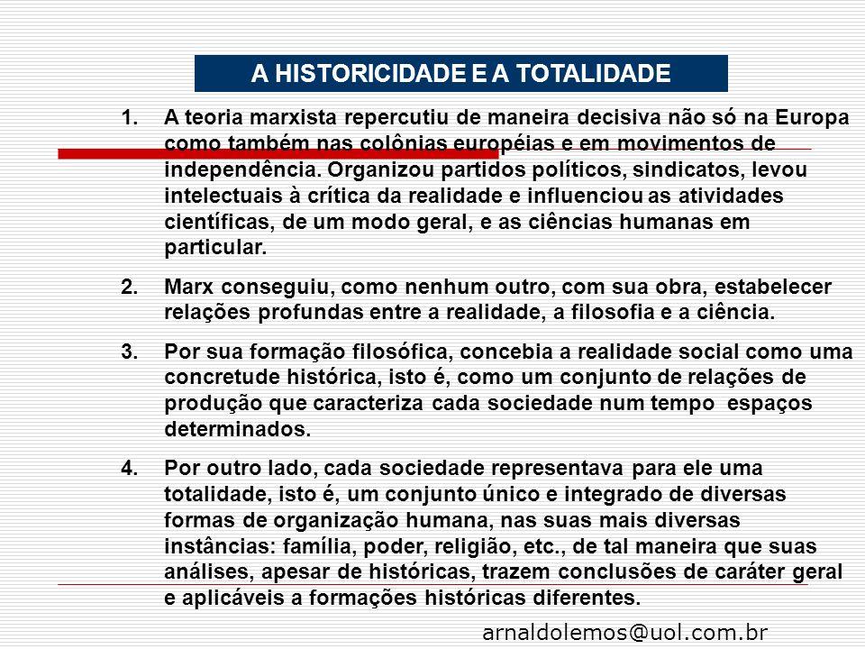 arnaldolemos@uol.com.br A HISTORICIDADE E A TOTALIDADE 1.A teoria marxista repercutiu de maneira decisiva não só na Europa como também nas colônias eu