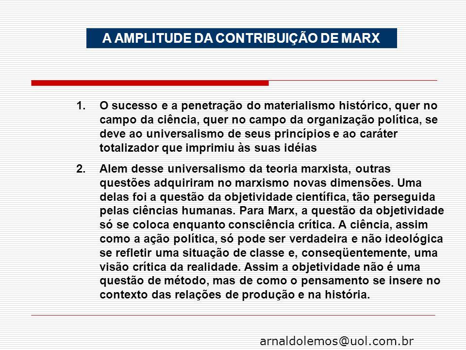 arnaldolemos@uol.com.br A AMPLITUDE DA CONTRIBUIÇÃO DE MARX 1.O sucesso e a penetração do materialismo histórico, quer no campo da ciência, quer no ca