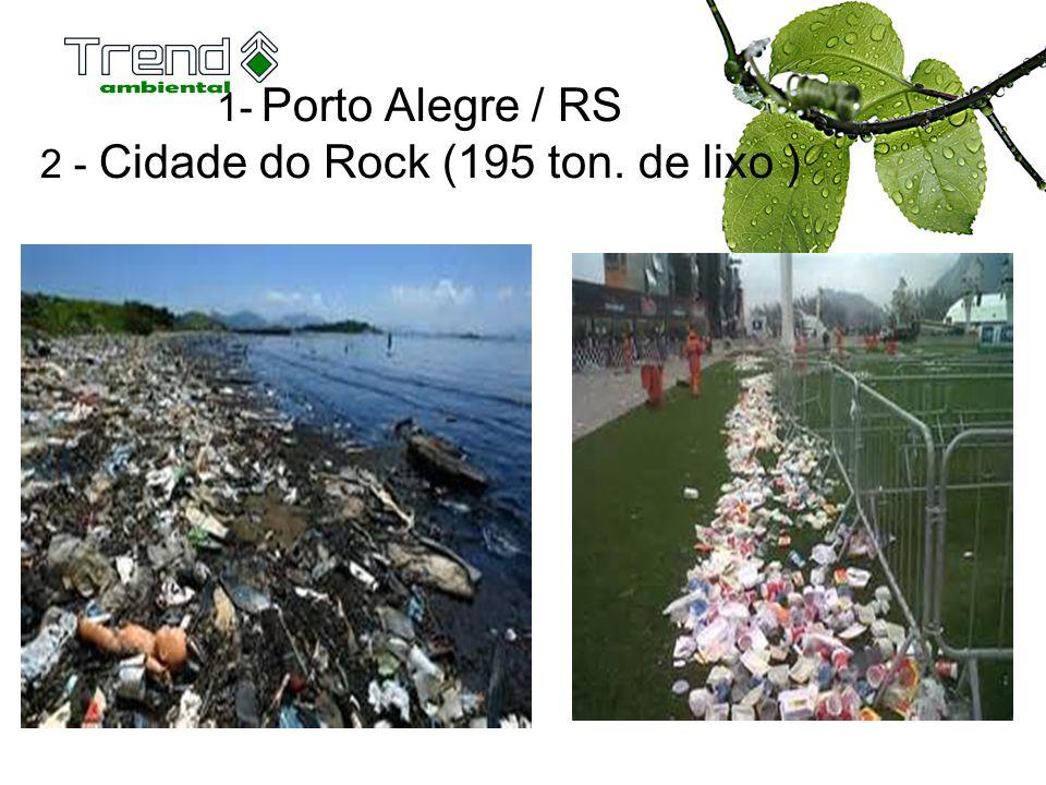1- Porto Alegre / RS 2 - Cidade do Rock (195 ton. de lixo )