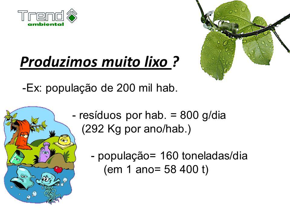 Produzimos muito lixo ? -Ex: população de 200 mil hab. - resíduos por hab. = 800 g/dia (292 Kg por ano/hab.) - população= 160 toneladas/dia (em 1 ano=