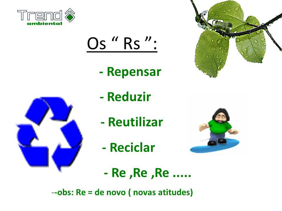 Os Rs : - Repensar - Reduzir - Reutilizar - Reciclar - Re,Re,Re..... --obs: Re = de novo ( novas atitudes)