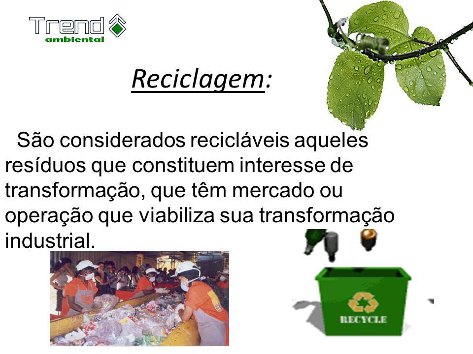 Reciclagem: São considerados recicláveis aqueles resíduos que constituem interesse de transformação, que têm mercado ou operação que viabiliza sua tra