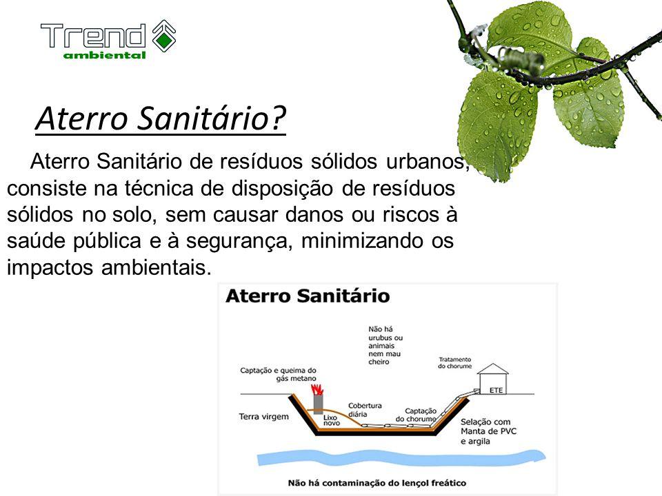 Aterro Sanitário? Aterro Sanitário de resíduos sólidos urbanos, consiste na técnica de disposição de resíduos sólidos no solo, sem causar danos ou ris