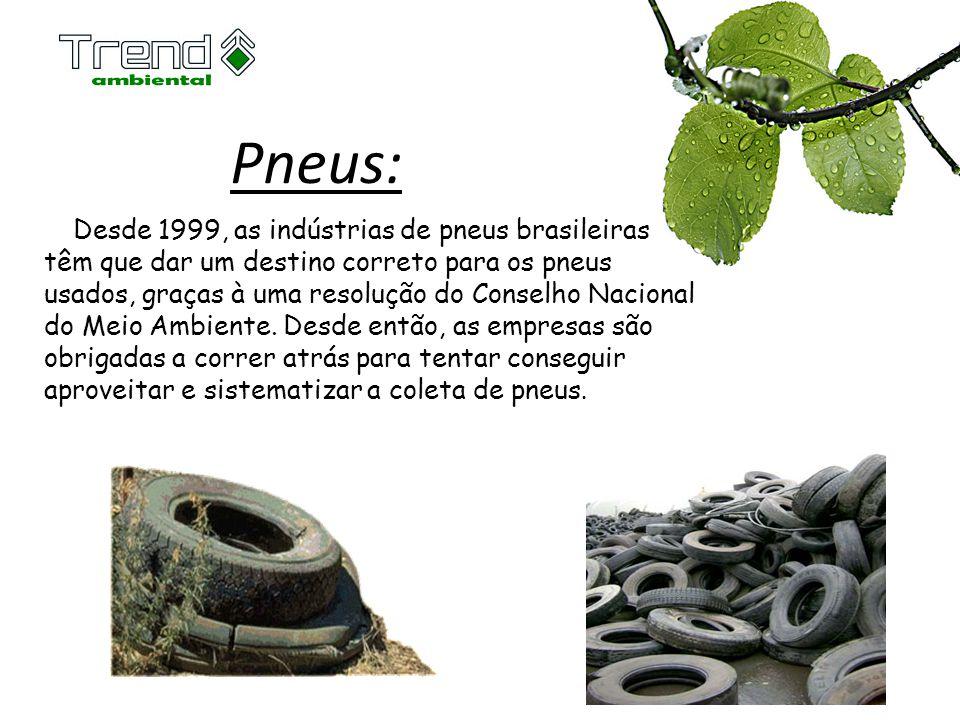 Pneus: Desde 1999, as indústrias de pneus brasileiras têm que dar um destino correto para os pneus usados, graças à uma resolução do Conselho Nacional