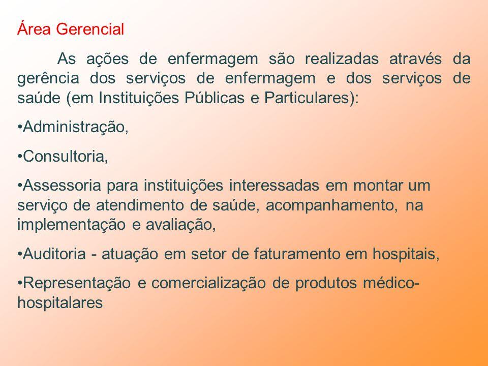 Área Educacional Prestação de serviços e ações de enfermagem através de cuidados ao ser humano/família/comunidade: Na docência, Em projetos de educaçã
